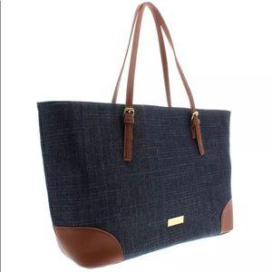 Denim Faux Leather Trim Tote Handbag Large Purse